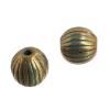 Metal Bead-corrugated Round 8mm Patina Finish